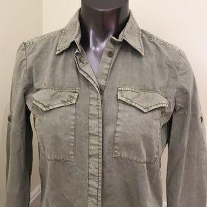 Joe Fresh XS Green LS Button Up Roll up Shirt